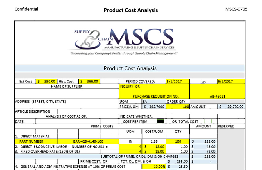 Example of Cost Analysis Template