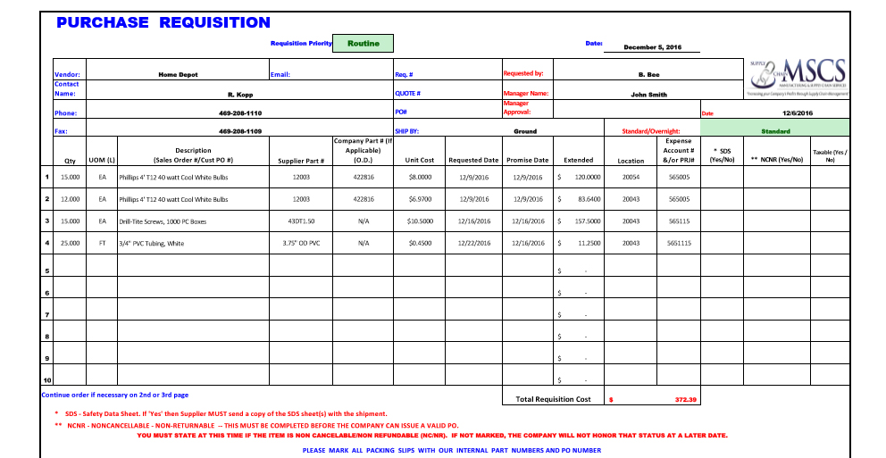 Example of a Purchase Requisition Template
