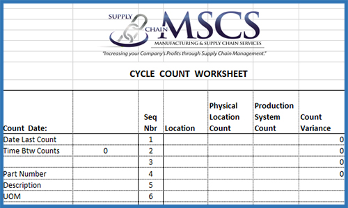 Cycle Count Template