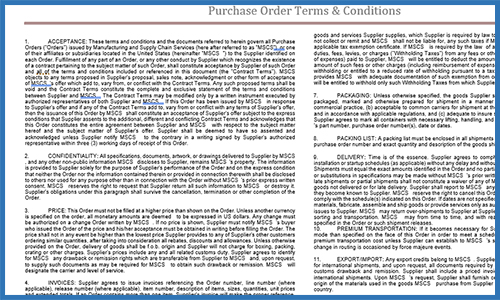 Purchase Order Terms & Conditions Template
