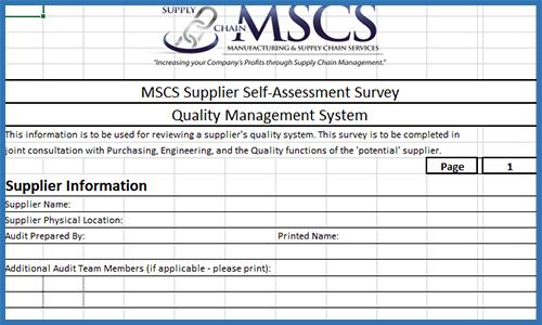 Supplier Self-Assessment Template